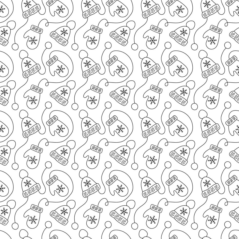 Monoline Christmas seamless pattern with mittens and winter hats vector