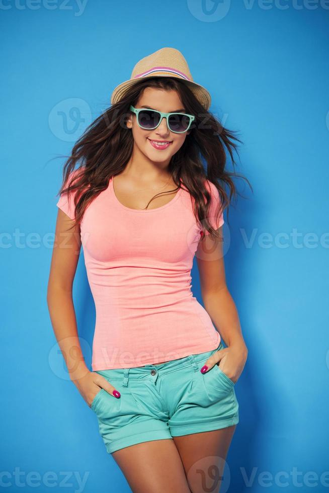 Portrait of young pretty woman in summer photo