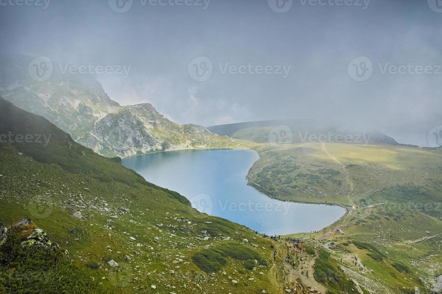 The Kidney lake in clouds, The Seven Rila Lakes photo