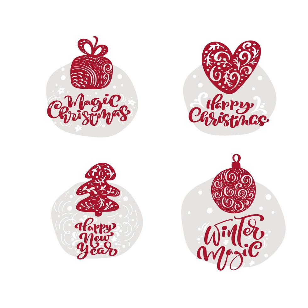 Christmas doodles with calligraphic text vector