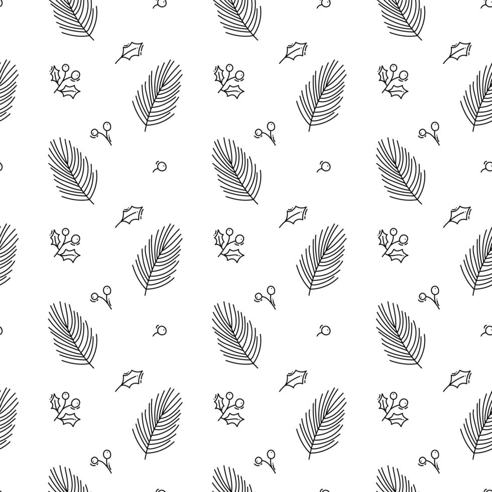 Christmas minimalist seamless pattern with leaves vector