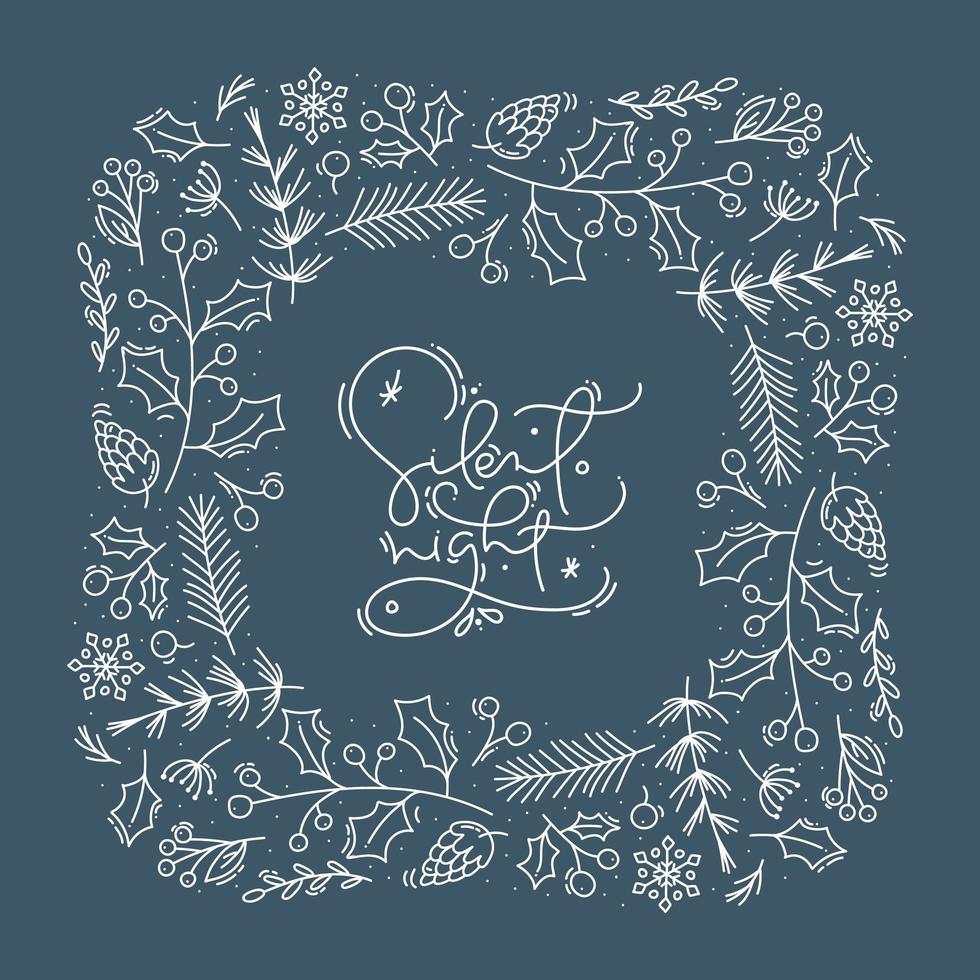 caligrafía nocturna silenciosa y marco de follaje. vector