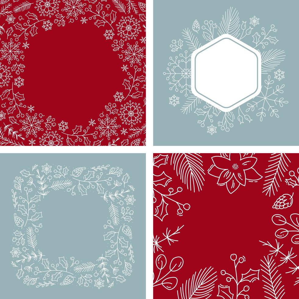 Christmas wreath set with place for your text vector