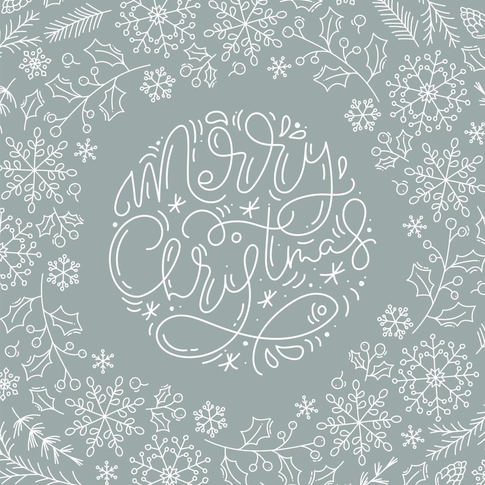 Merry Christmas calligraphy and line style winter elements vector