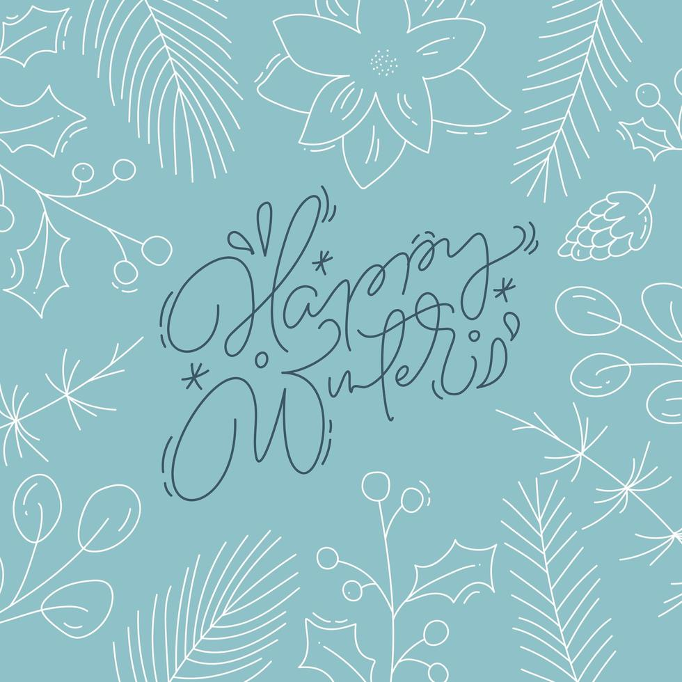 Happy Winter calligraphy with line style foliage vector
