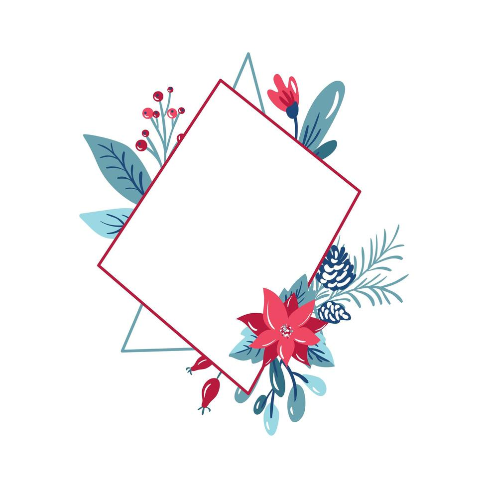Geometric frame with winter cones and flowers vector
