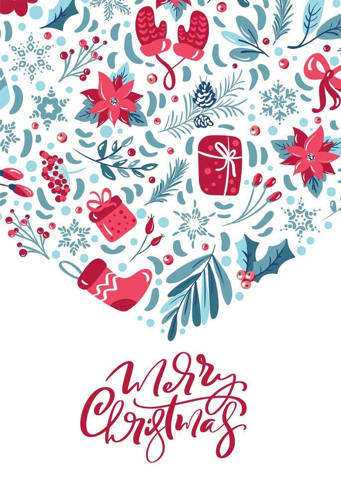 feliz navidad caligrafía y elementos de invierno vector