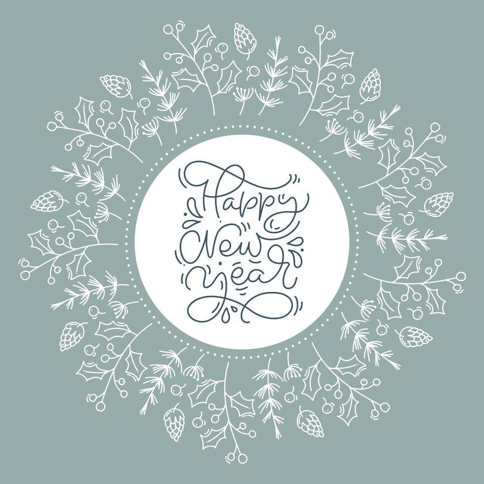 corona floral que contiene un marco circular con texto de feliz año nuevo vector
