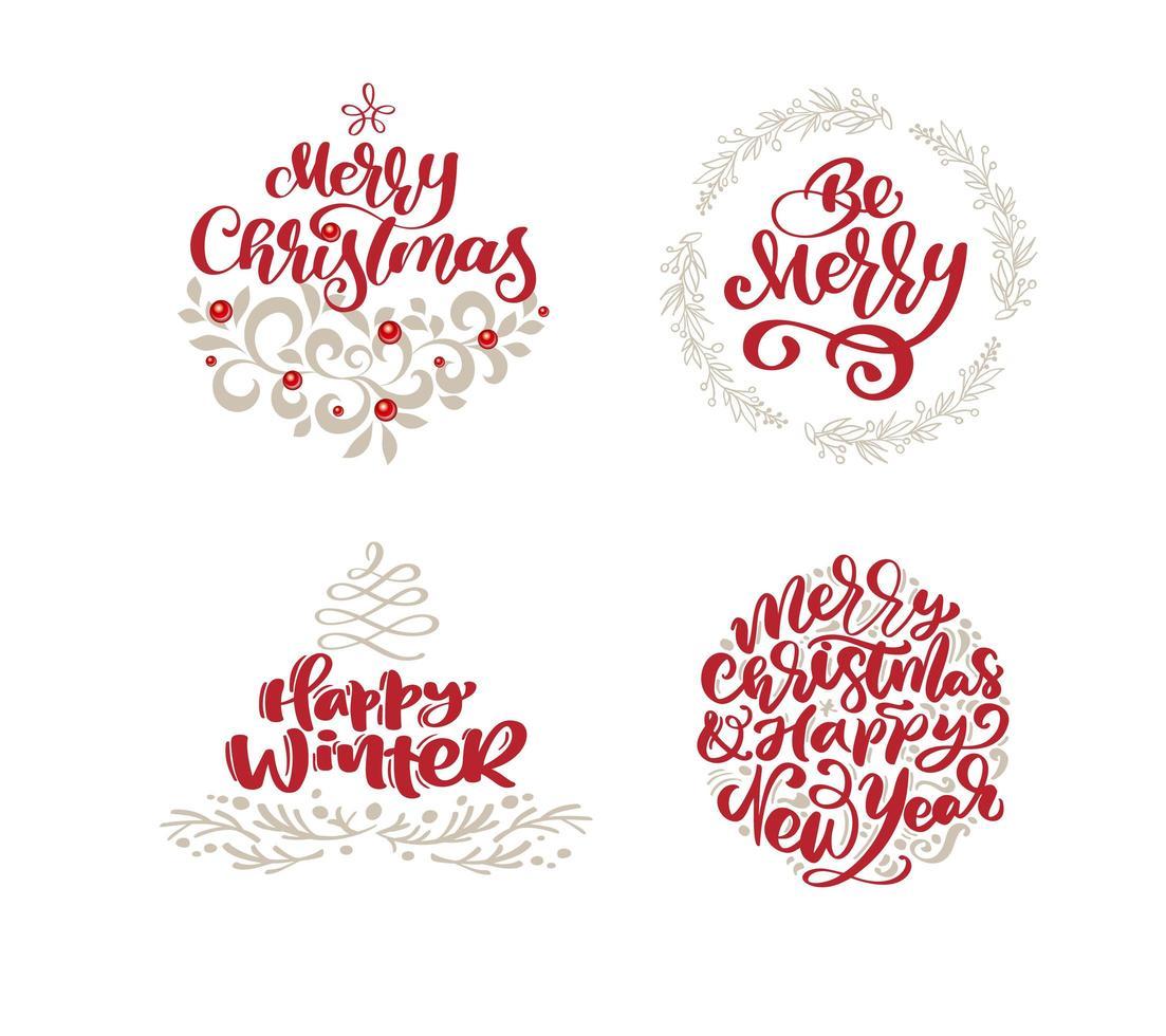 elementos navideños dibujados a mano y citas de texto de vacaciones de moda vector