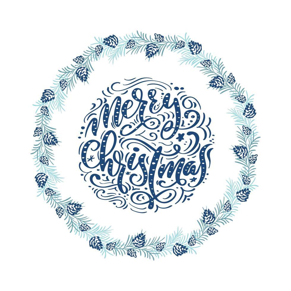 Blue Scandinavian winter wreath with Christmas phrase vector