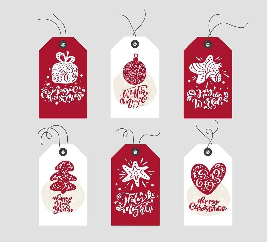 Etiquetas de regalo de navidad rojas y blancas con caligrafía vector