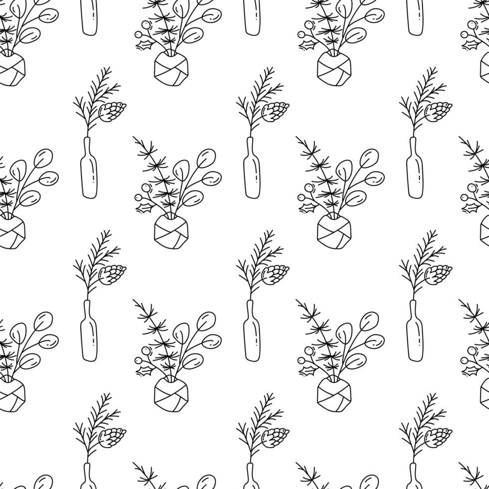 Navidad monoline de patrones sin fisuras con plantas en botellas vector