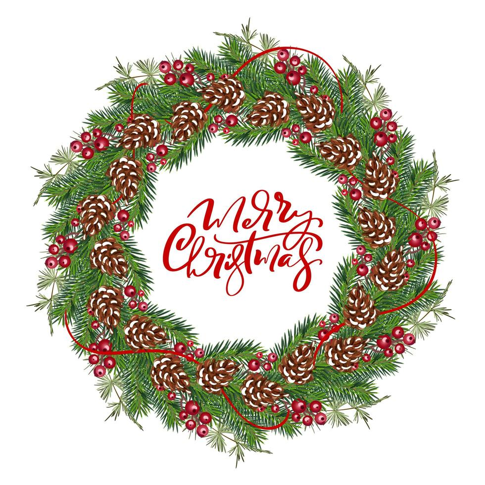 Christmas wreath with cones, berries on evergreen branches vector