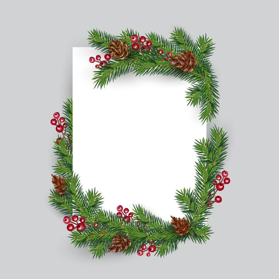 Christmas branches and berries around blank paper vector