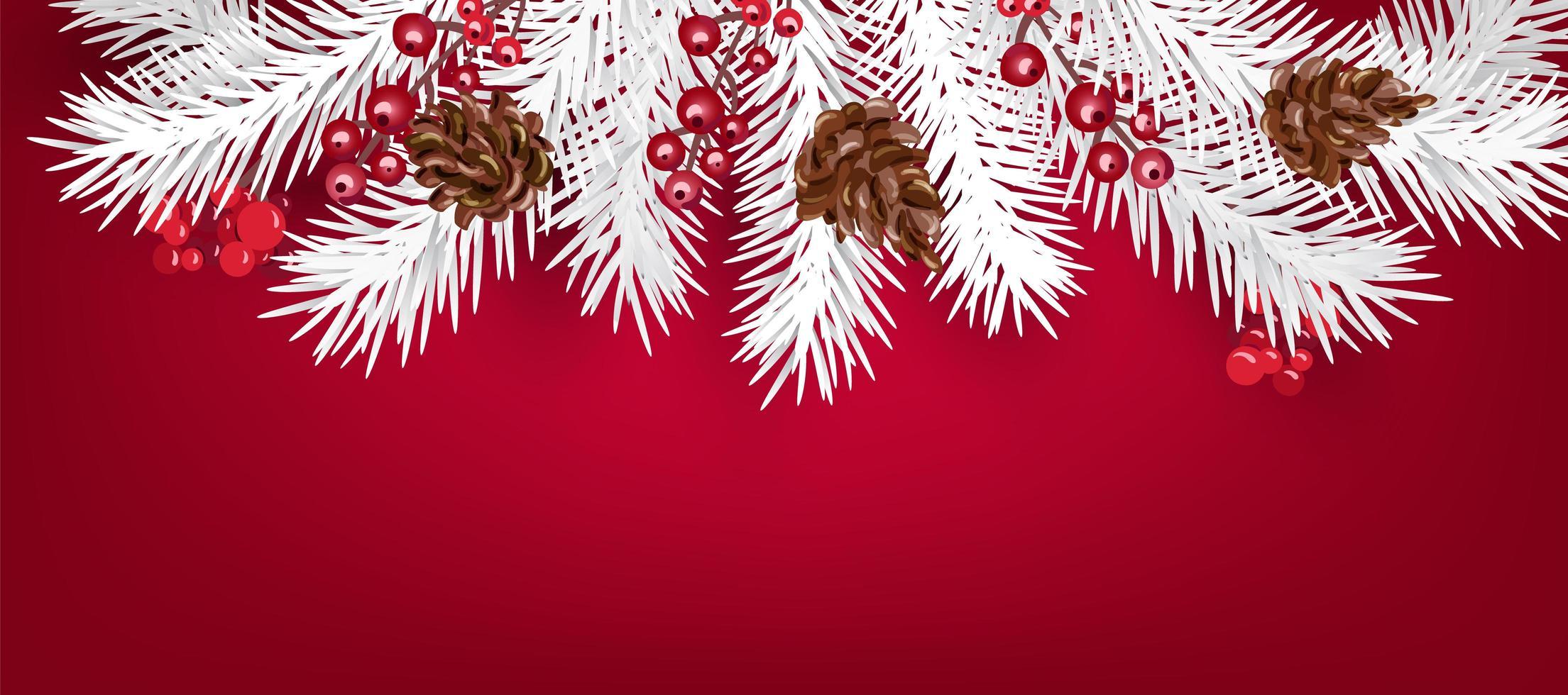 Ramas de árboles de Navidad blanca y bayas con espacio de copia vector