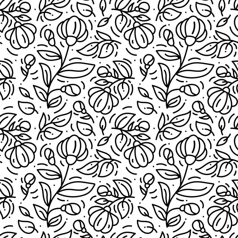 patrón sin costuras floral monoline vector