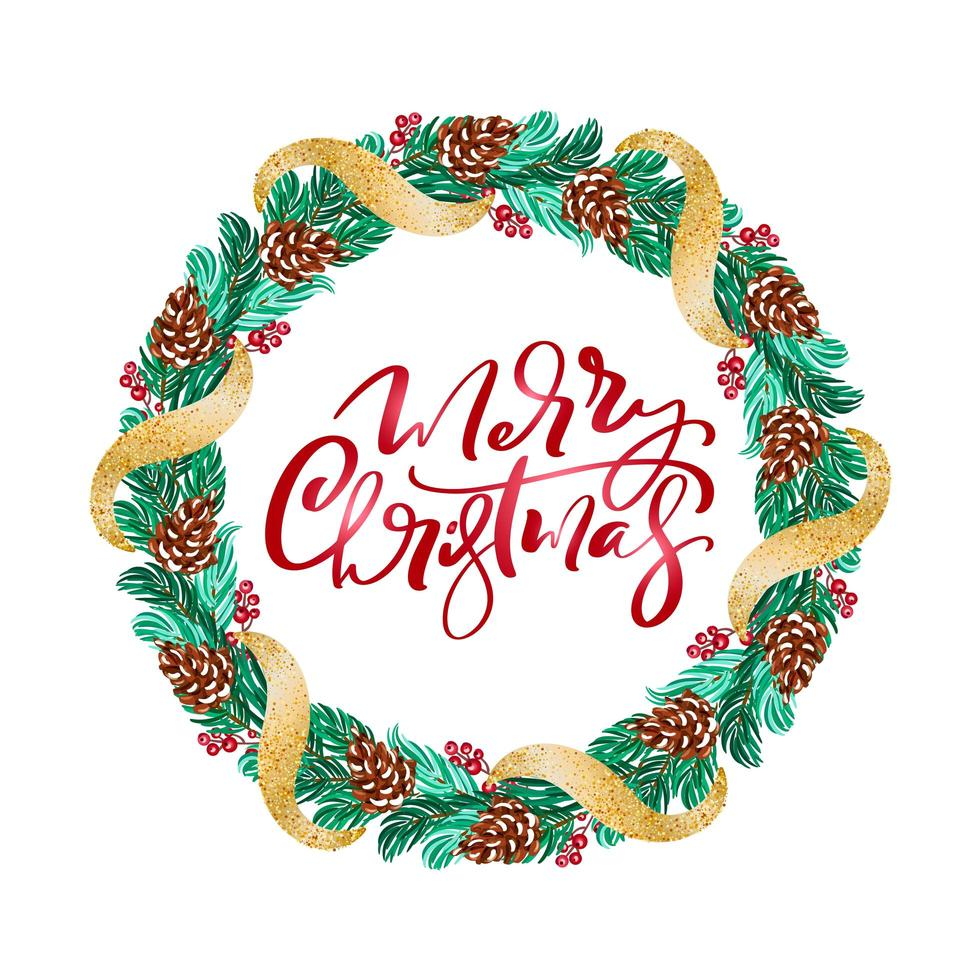 Christmas wreath with red berries on evergreen branches vector