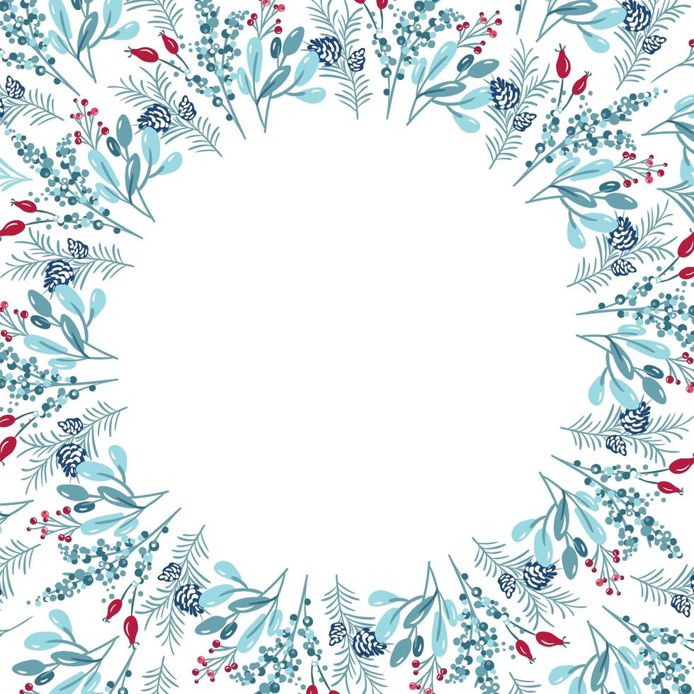Christmas frame with branches, leaves and other elements vector