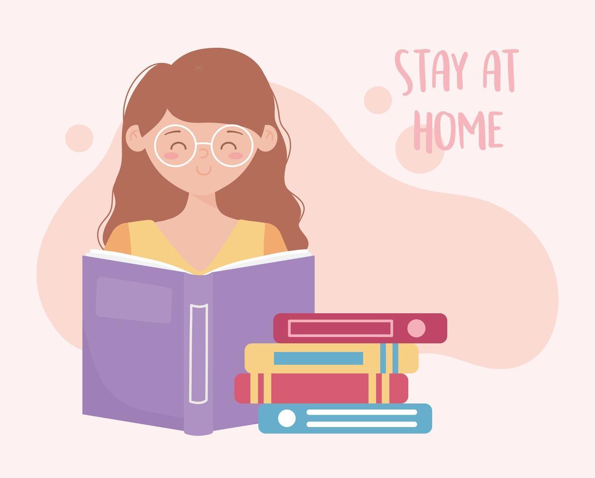 mujer joven estudiando en casa vector