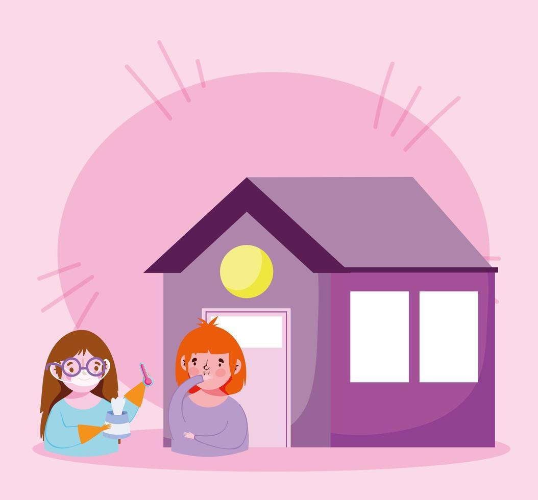niñas con infección viral en la casa. vector