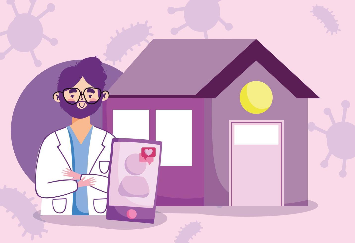 Online doctor visit concept banner vector