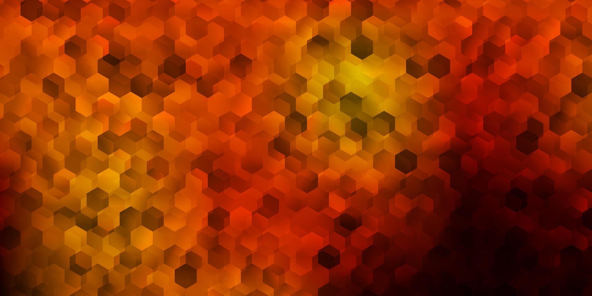 Dark orange background with hexagonal shapes. vector