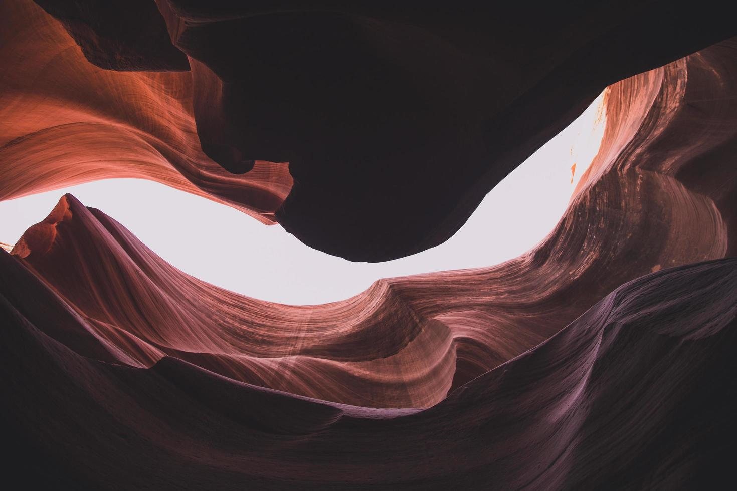 Looking up through a canyon photo