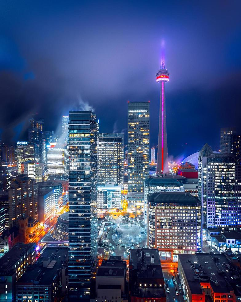 Illuminated city skyline photo
