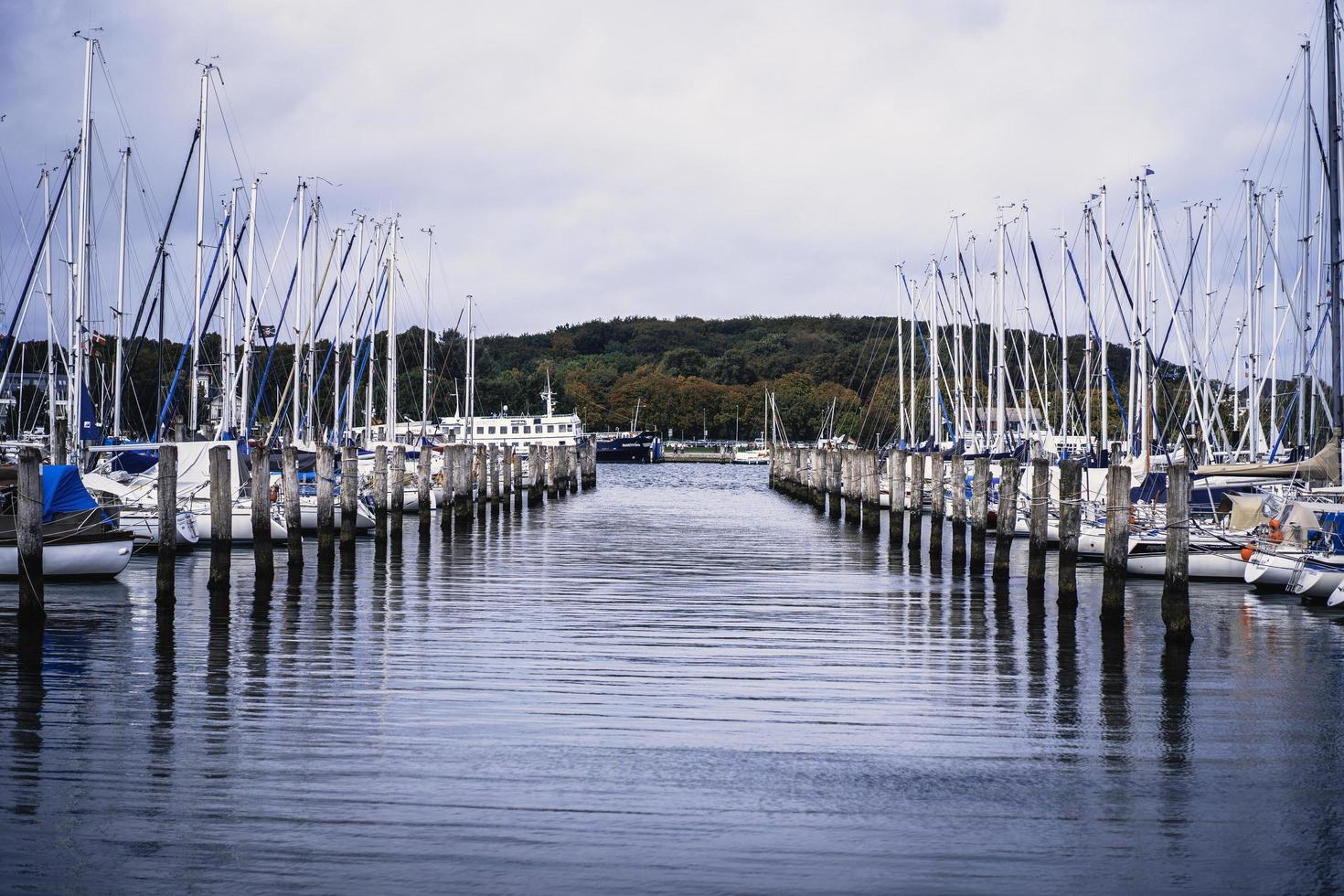 A seascape view of water with boats photo