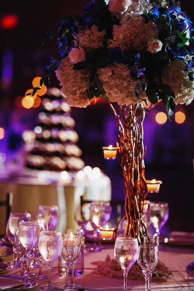Luxurious ceremony table decorations photo