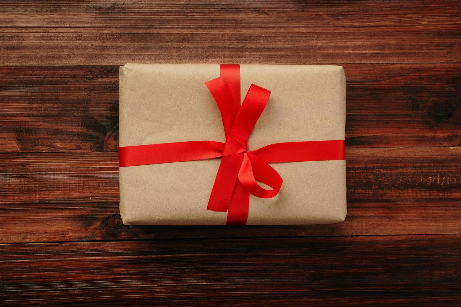 vista superior de la caja de regalo foto