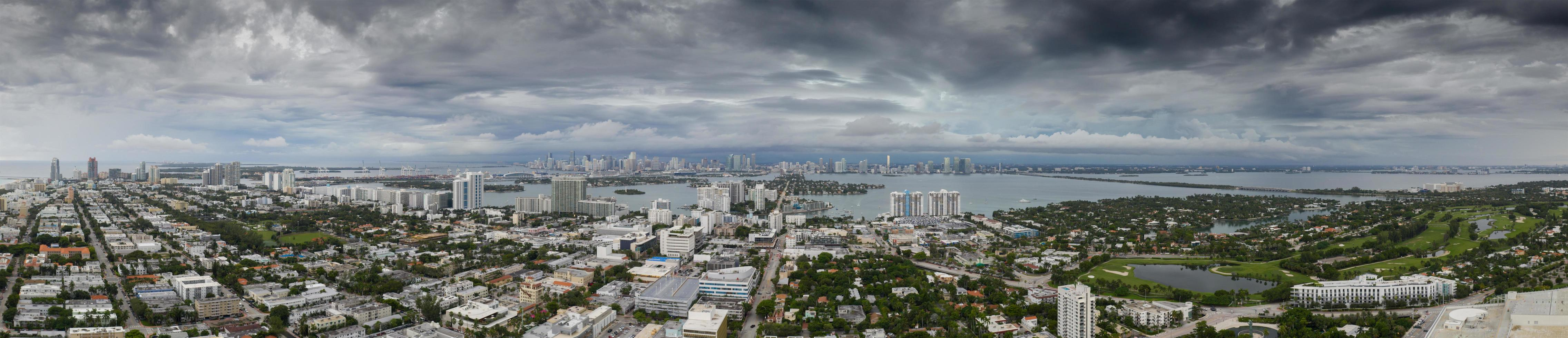 Aerial panorama of a storm in Miami photo