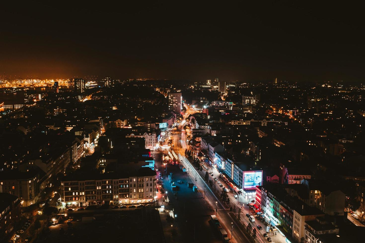 Aerial view of city skyline at nighttime photo