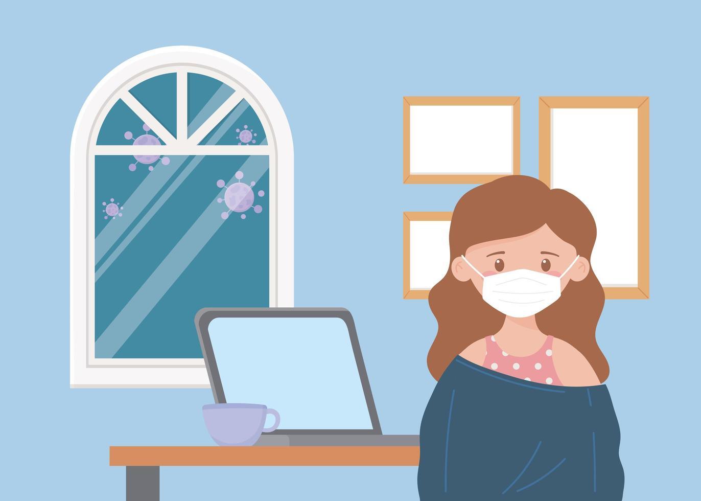 niña en la computadora portátil en el interior durante la pandemia de coronavirus vector