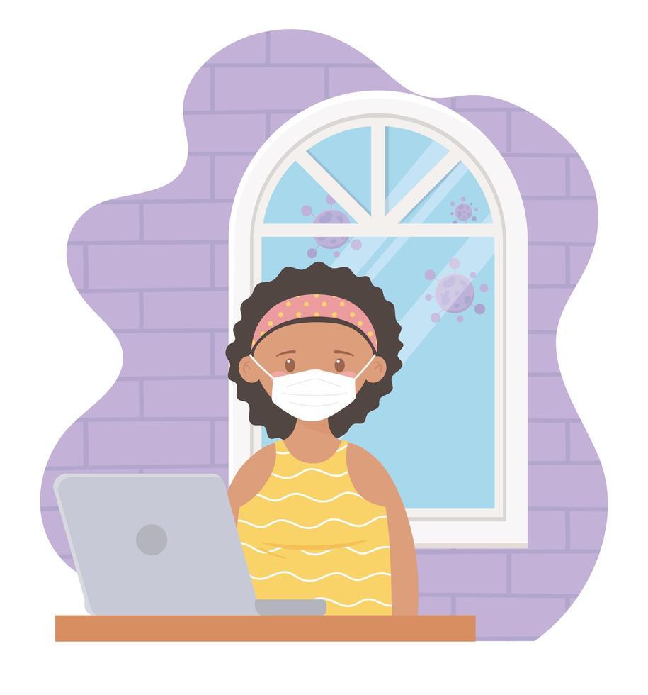 mujer joven, utilizar, un, computador portatil, adentro vector