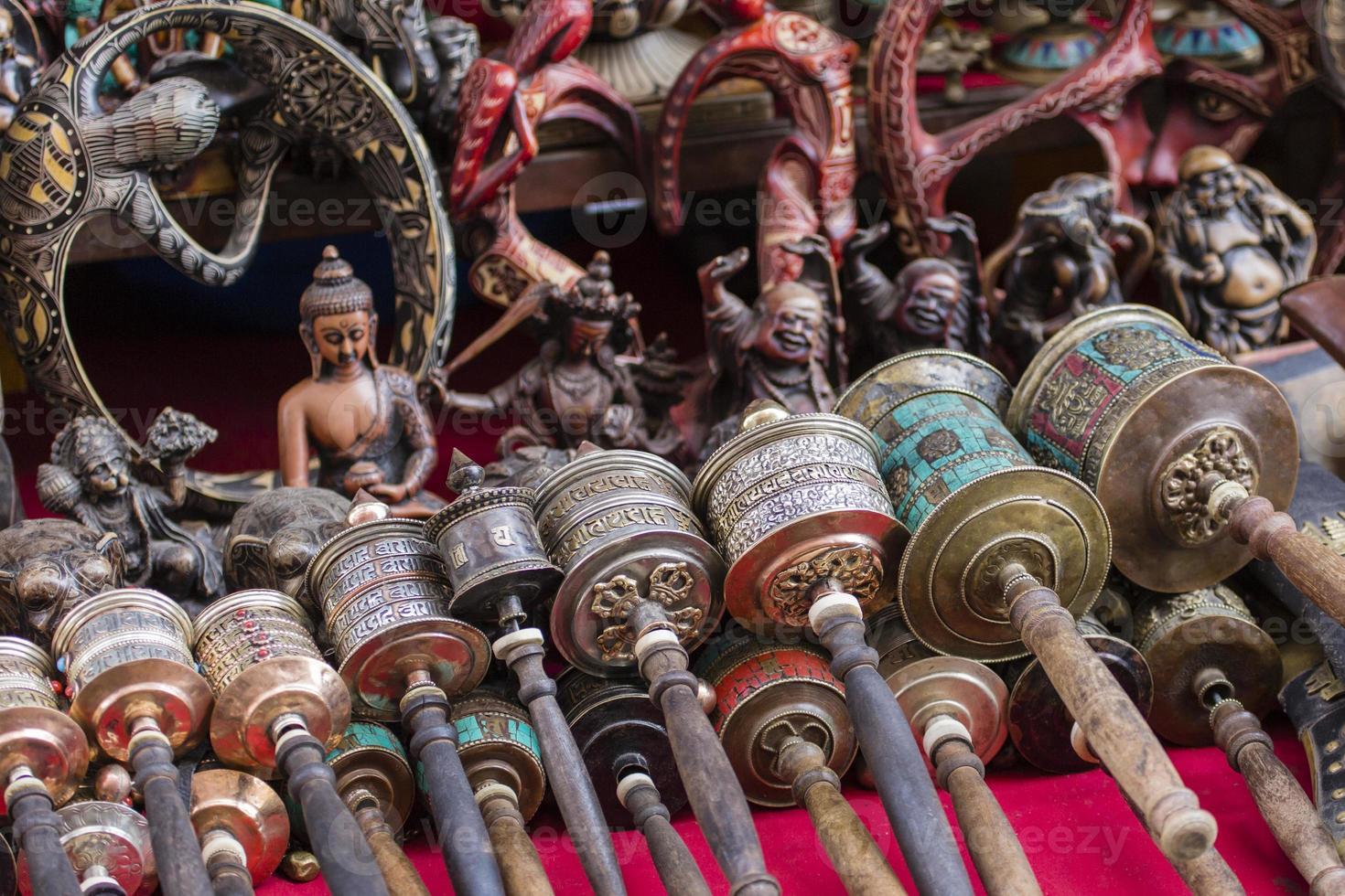 Nepalese Prayer Wheels on Swayambhunath stupa in Kathmandu, Nepa photo