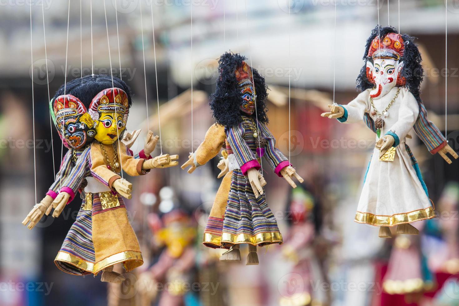 Masks, dolls and souvenirs in street shop at Durbar Square photo