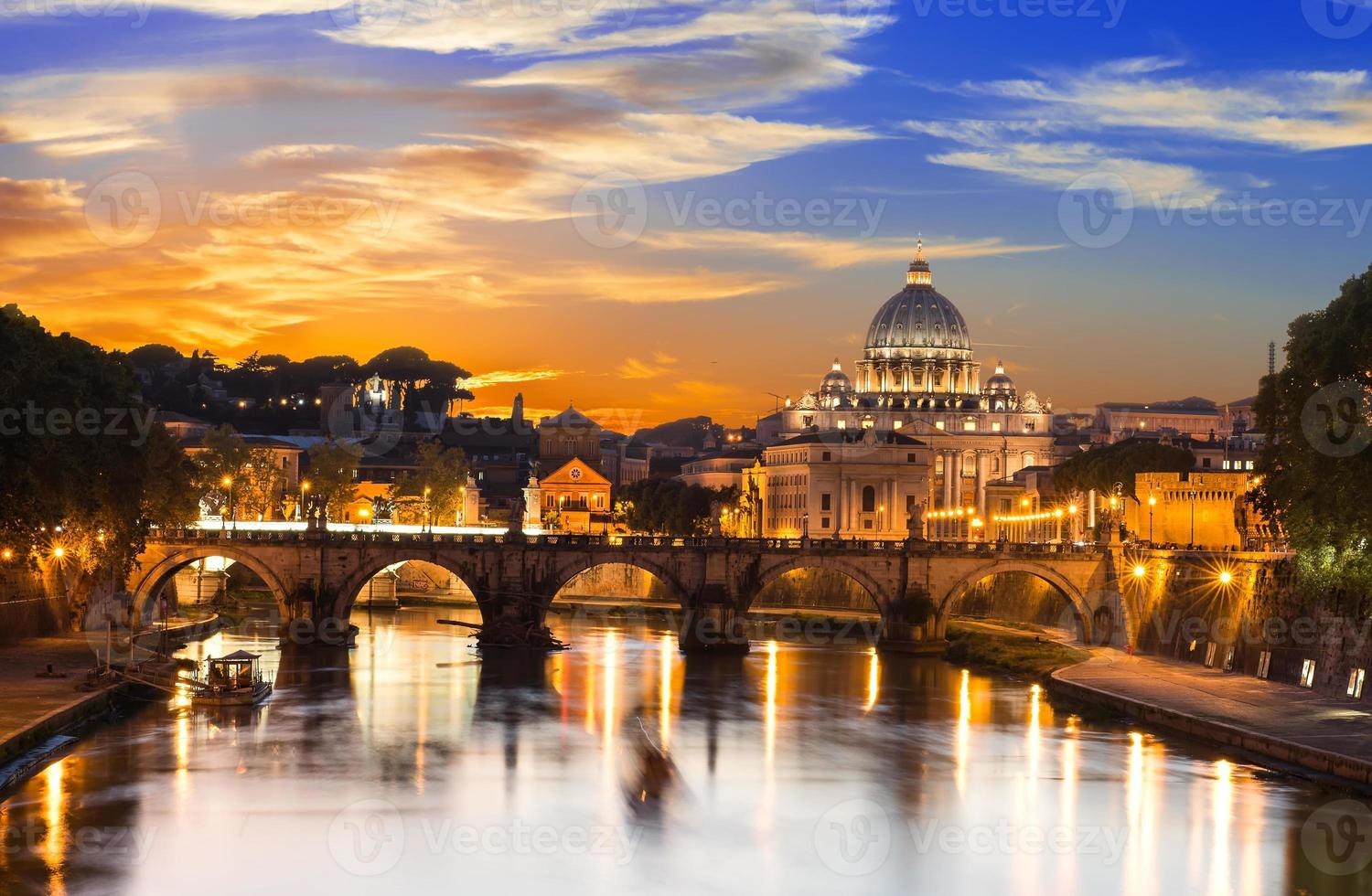 Basilica St Peter and river Tiber in Rome photo