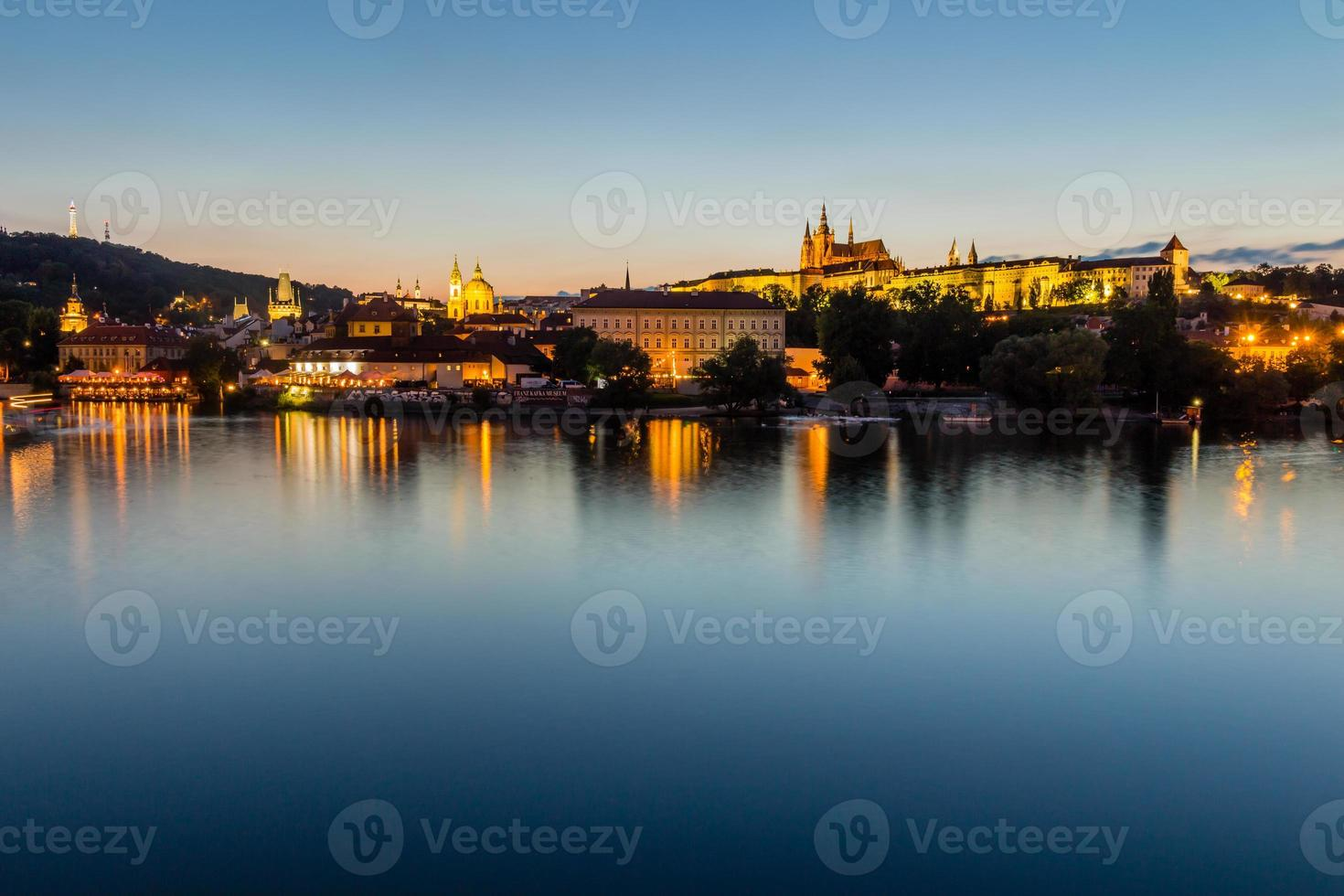 The historic center of Prague, ancient architecture at night photo