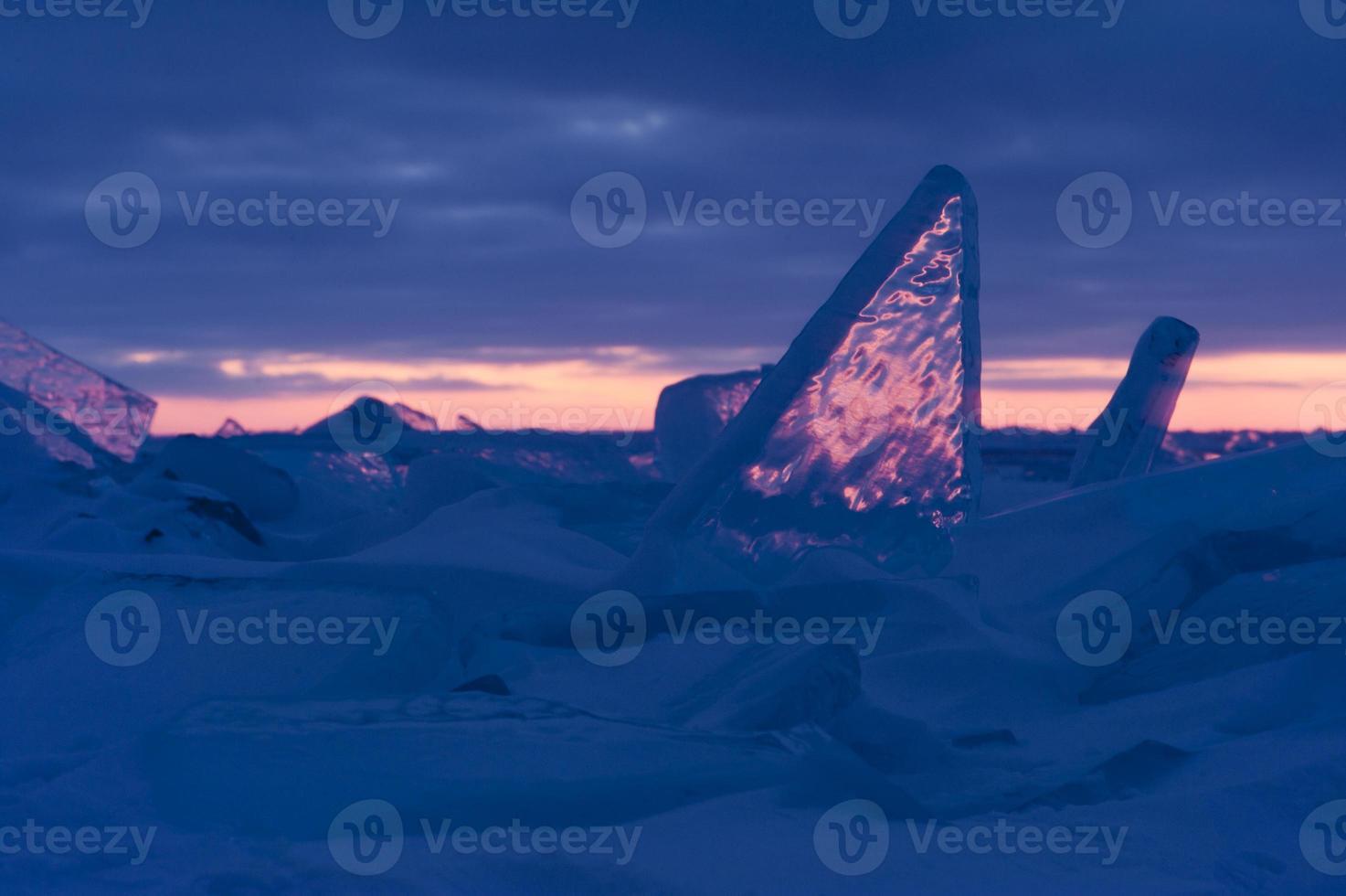 campo de gelo no pôr do sol foto