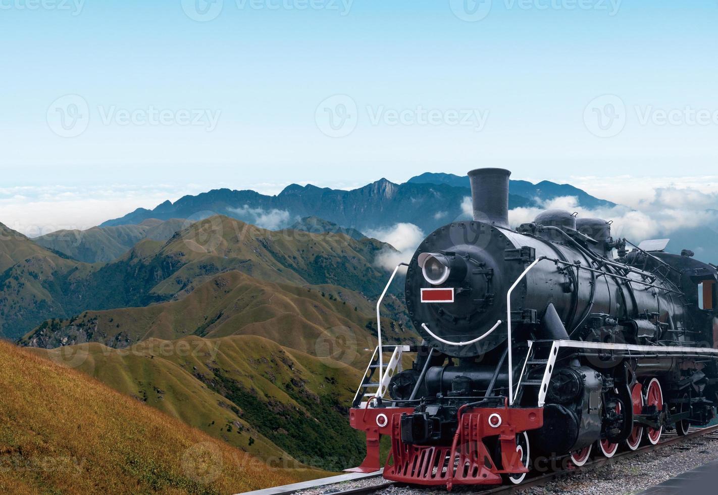 vintage black steam powered railway train photo