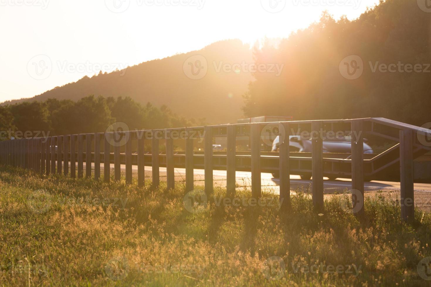 sundown on german highway photo