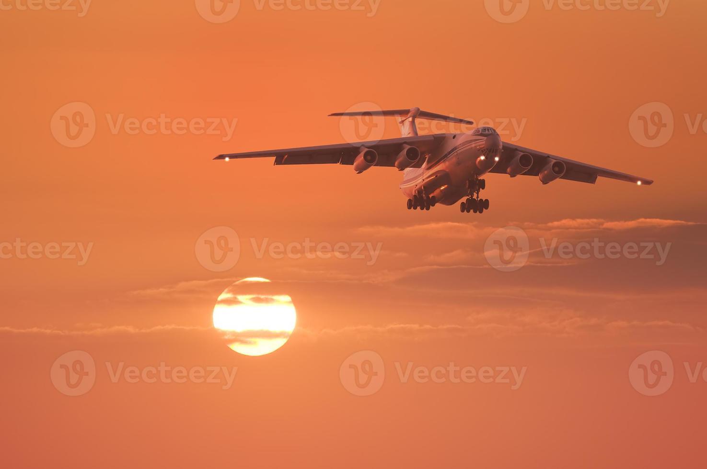 Landing of the plane. photo
