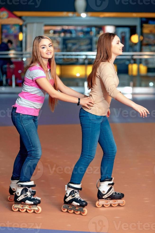 Beautiful girls on the rollerdrome photo