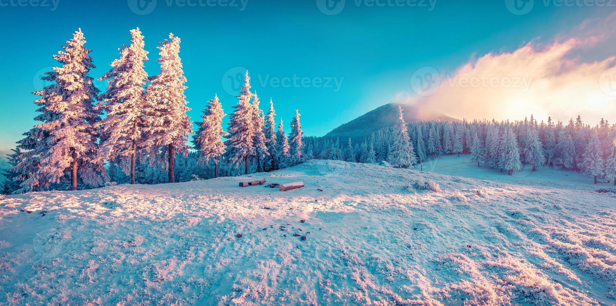 Beautiful winter sunrise in the mountains. photo