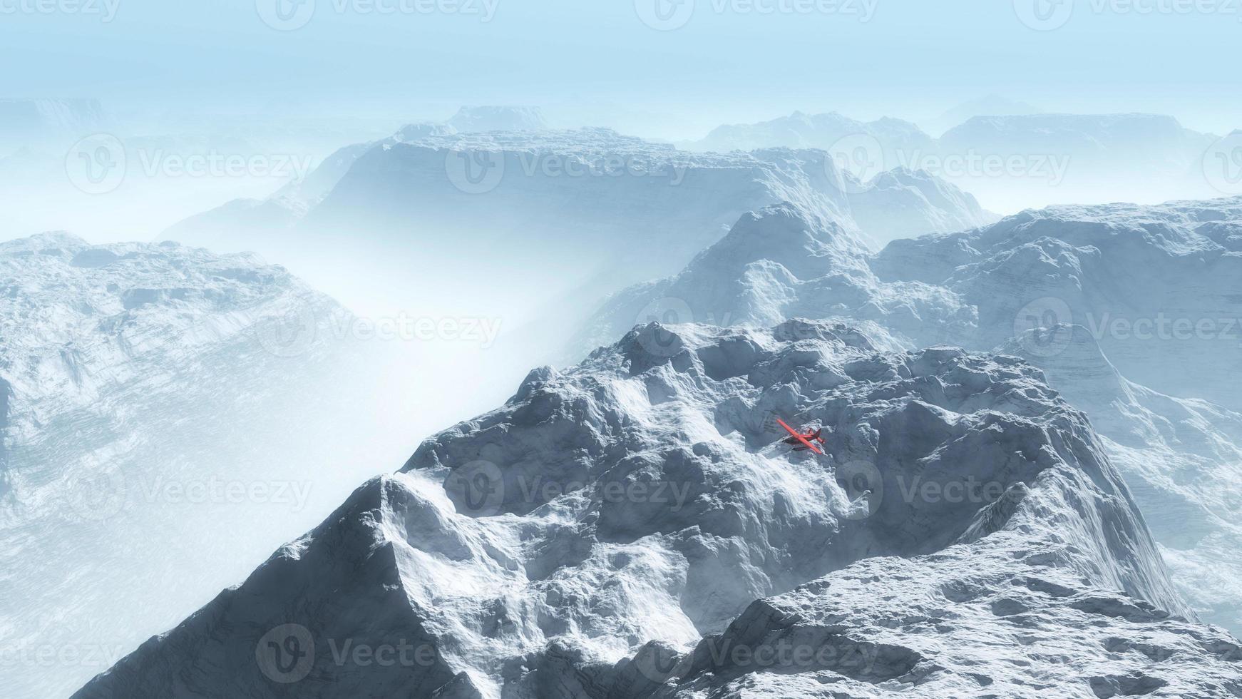 avião privado vermelho sobre a nebulosa paisagem montanhosa de inverno. foto