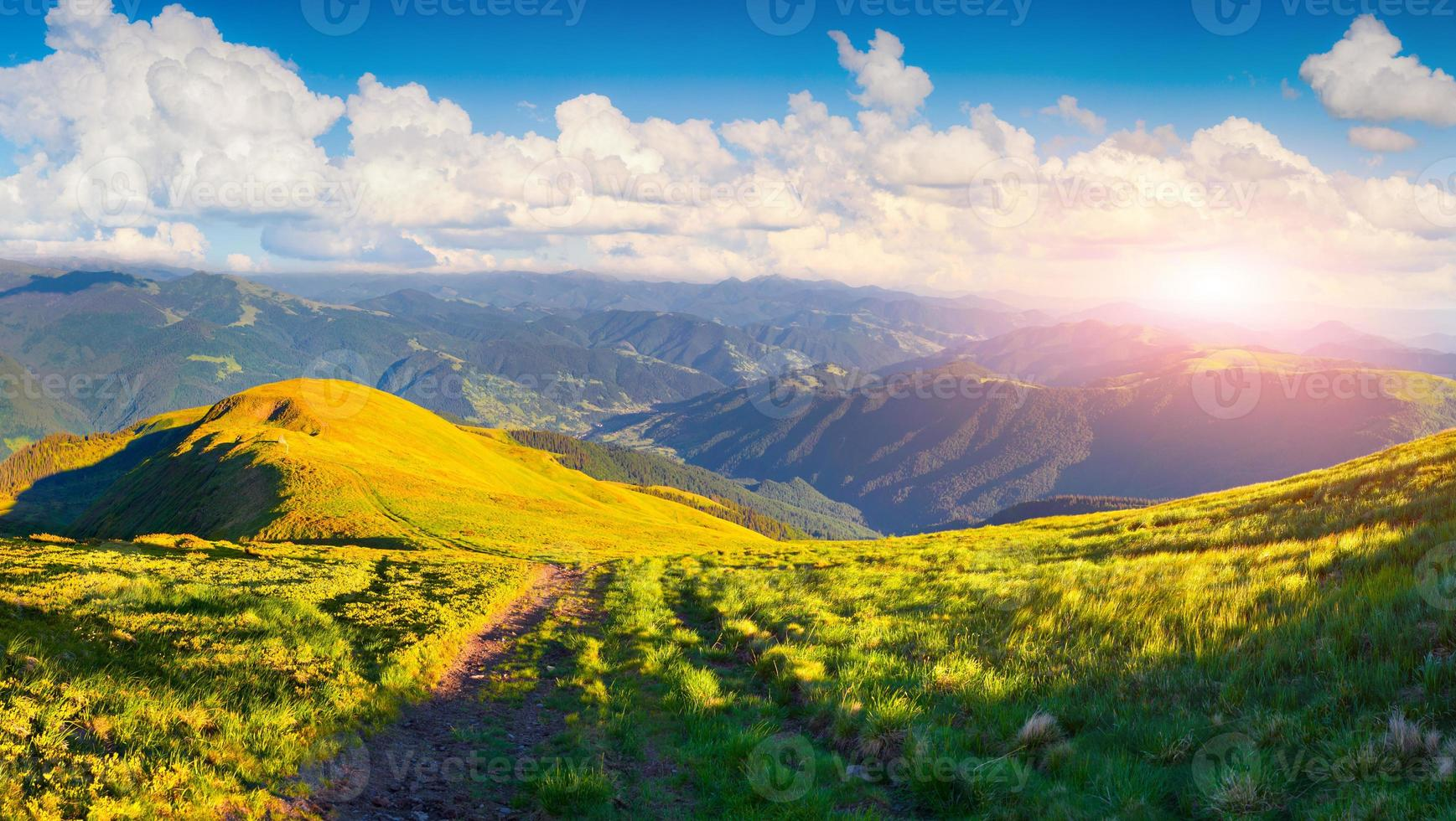 bela paisagem de verão com estrada nas montanhas foto