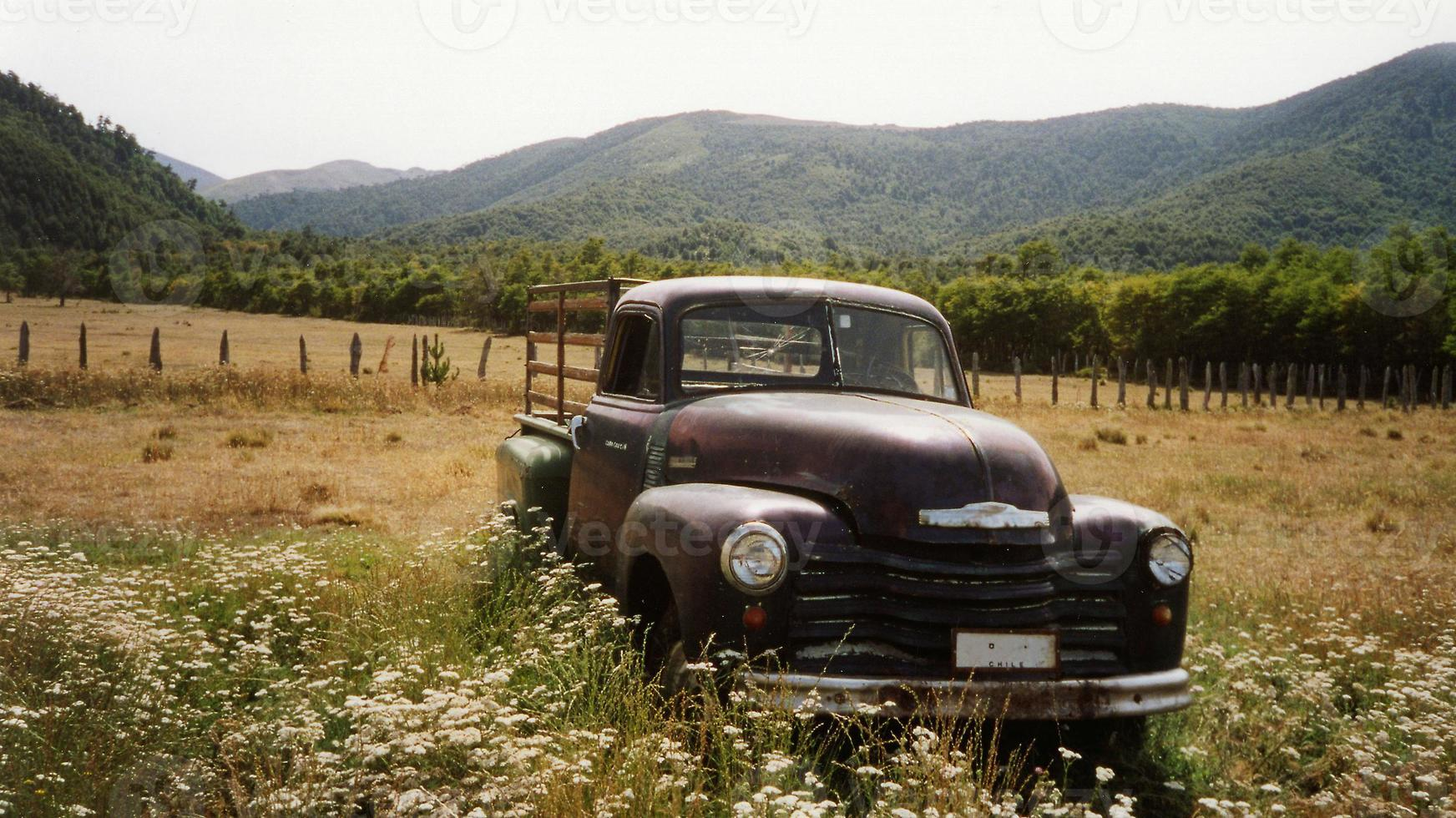 vintage rusty truck lake district chile photo