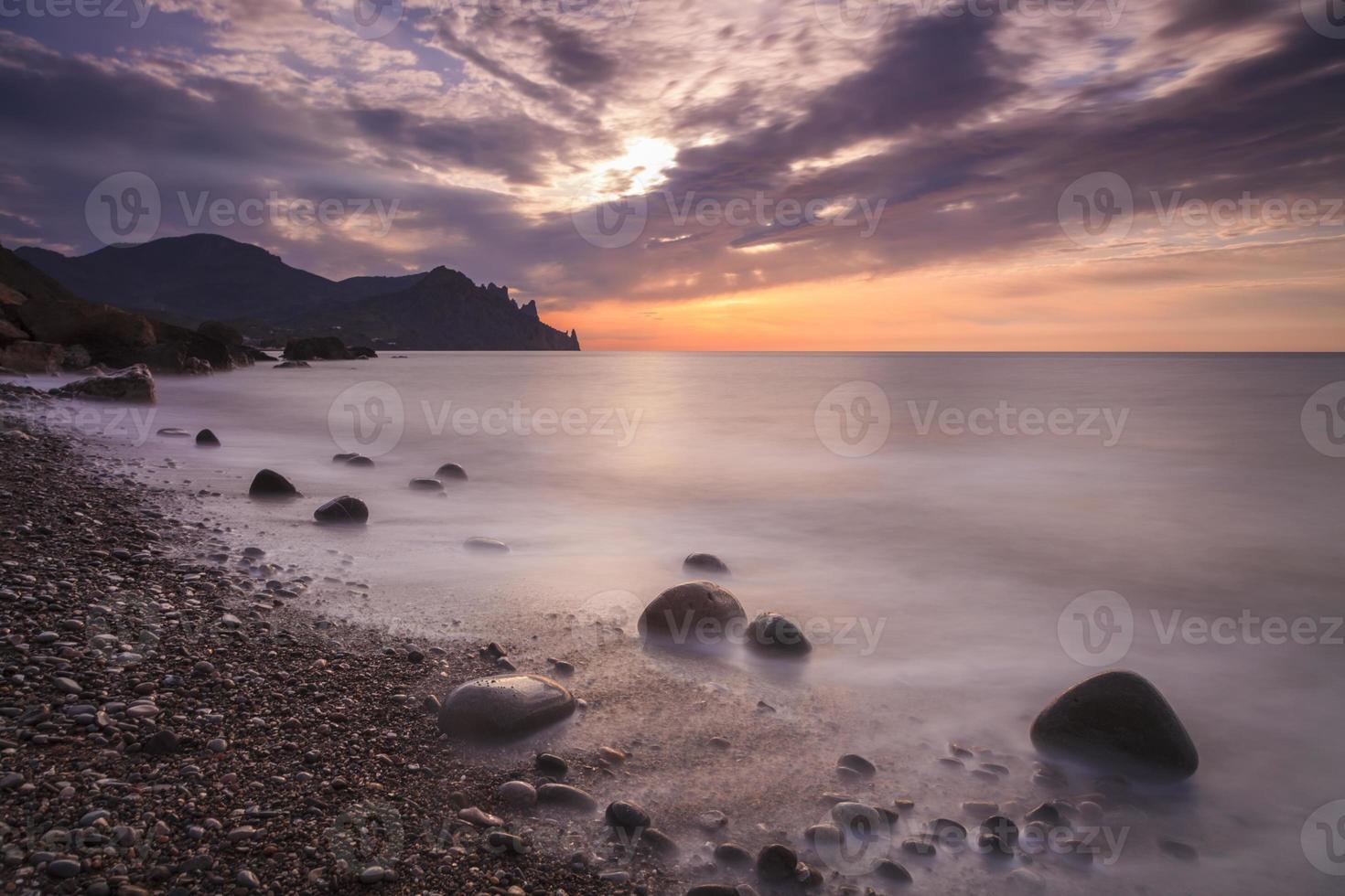 Beautiful sunrise on the beach photo