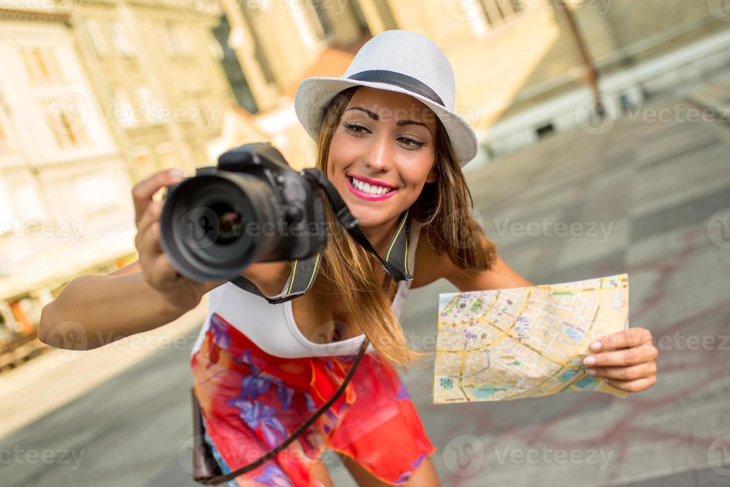 mulher linda turista foto